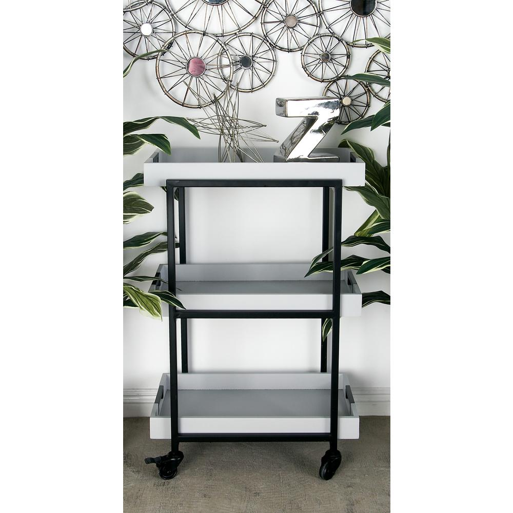 3-Tiered Iron and Wood Rectangular Tray Wheeled Bar Cart in Metallic