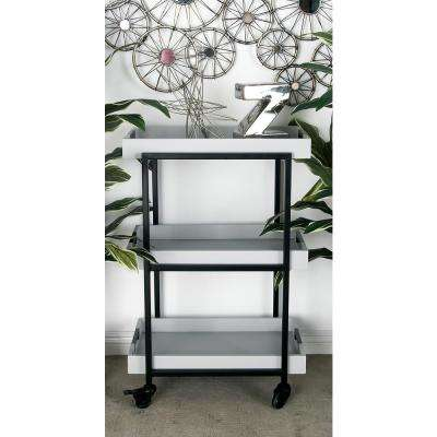 3-Tiered Iron and Wood Rectangular Tray Wheeled Bar Cart in Metallic Black and White