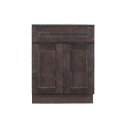 Lancaster Shaker Assembled 27 in. W x 21 in. D x 33 in. H Bath Vanity Cabinet with 2 Doors in Vintage Charcoal