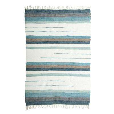 Blue and Brown 4 ft. x 6 ft. Striped Chindi Area Rug