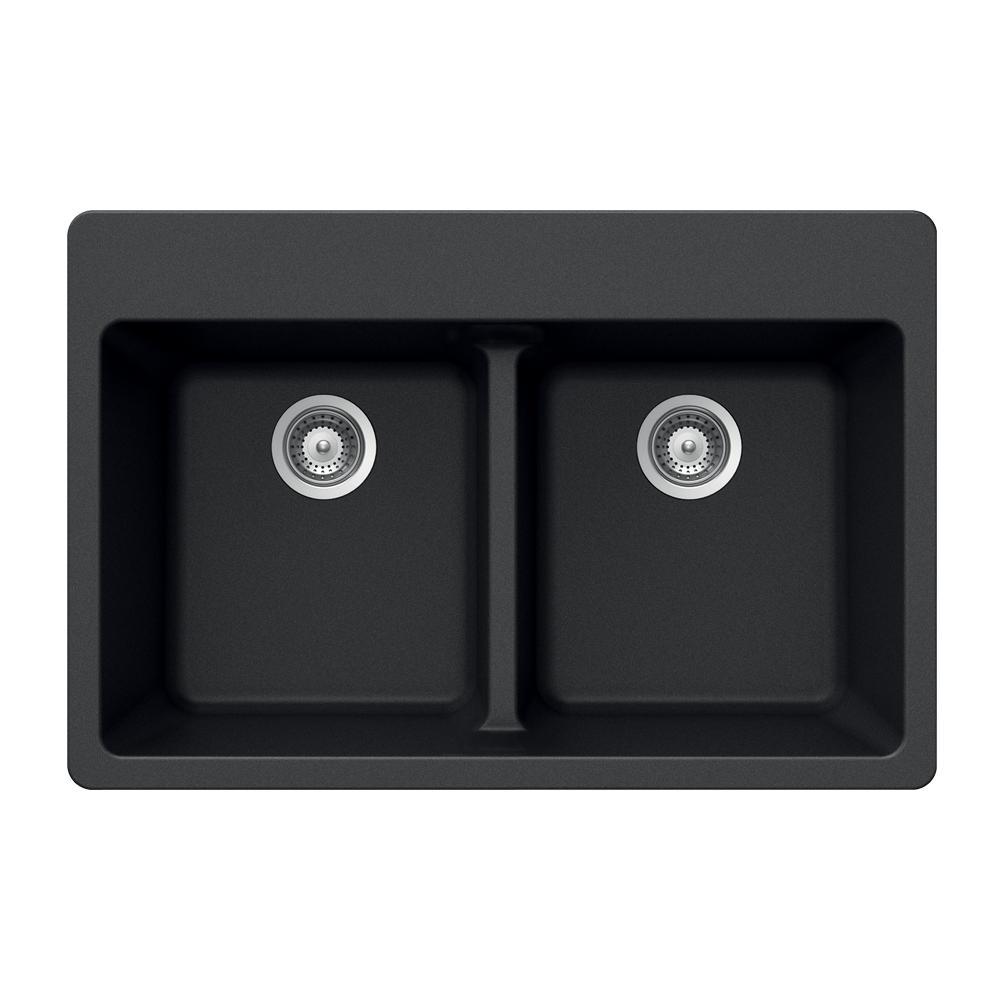 Quartztone Drop-In Composite Granite 33 in. 5-Hole Double Bowl Kitchen Sink in Midnite
