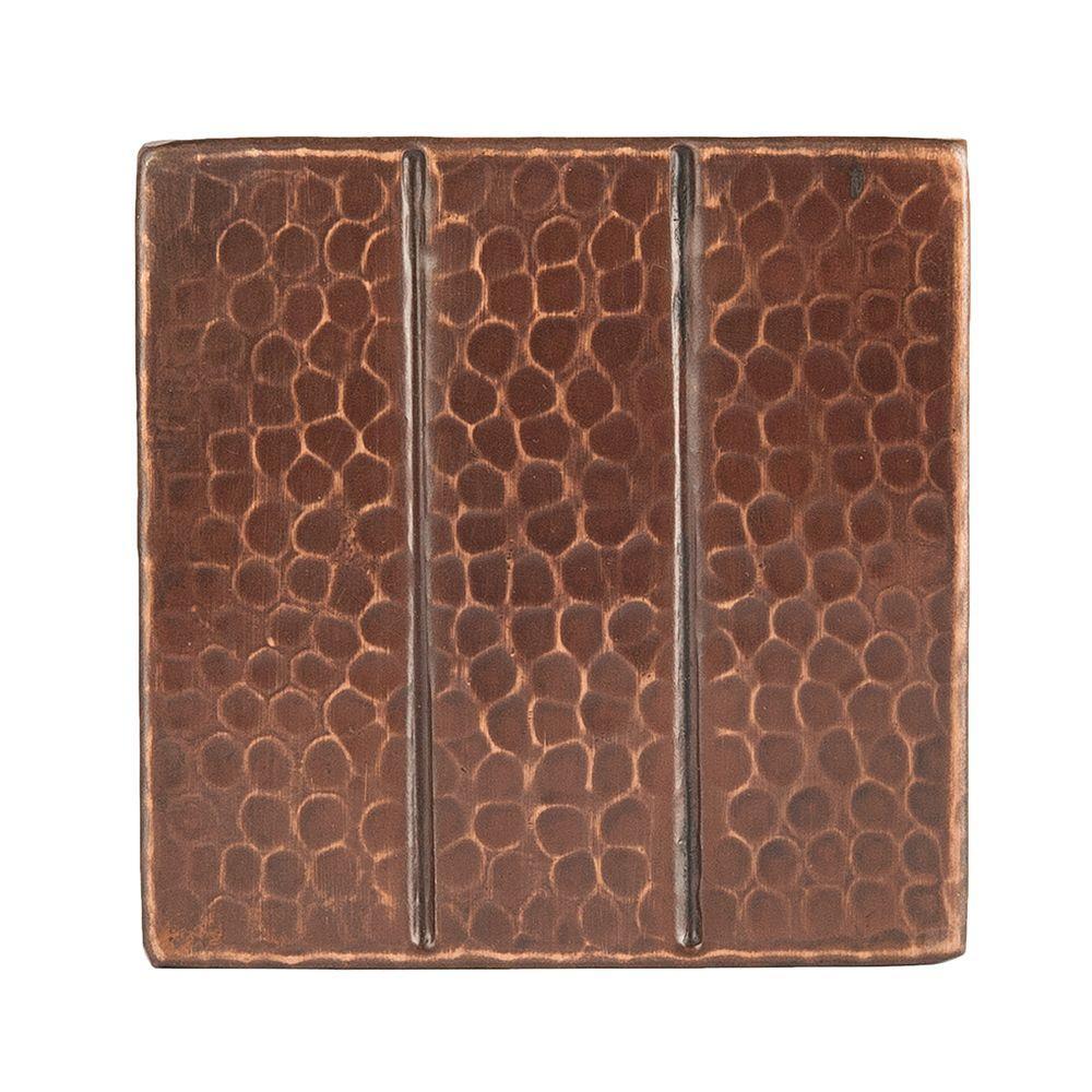 Hammered Copper Decorative Wall Tile With Linear Design In Oil Rubbed Bronze 4 Pack