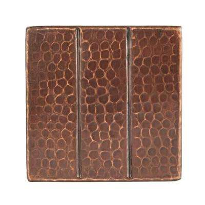 4 in. x 4 in. Hammered Copper Decorative Wall Tile with Linear Design in Oil Rubbed Bronze (4-Pack)