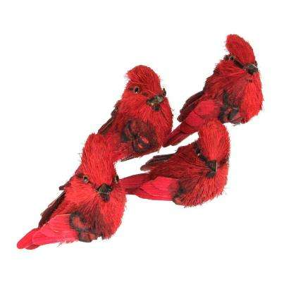 red cardinal clip on bird christmas figure ornaments pack of 4