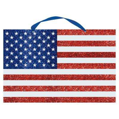 13 in. x 20 in. American Flag Glitter Sign (3-Pack)