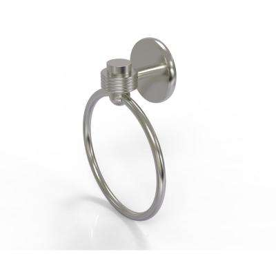 Satellite Orbit One Collection Towel Ring with Groovy Accent in Satin Nickel