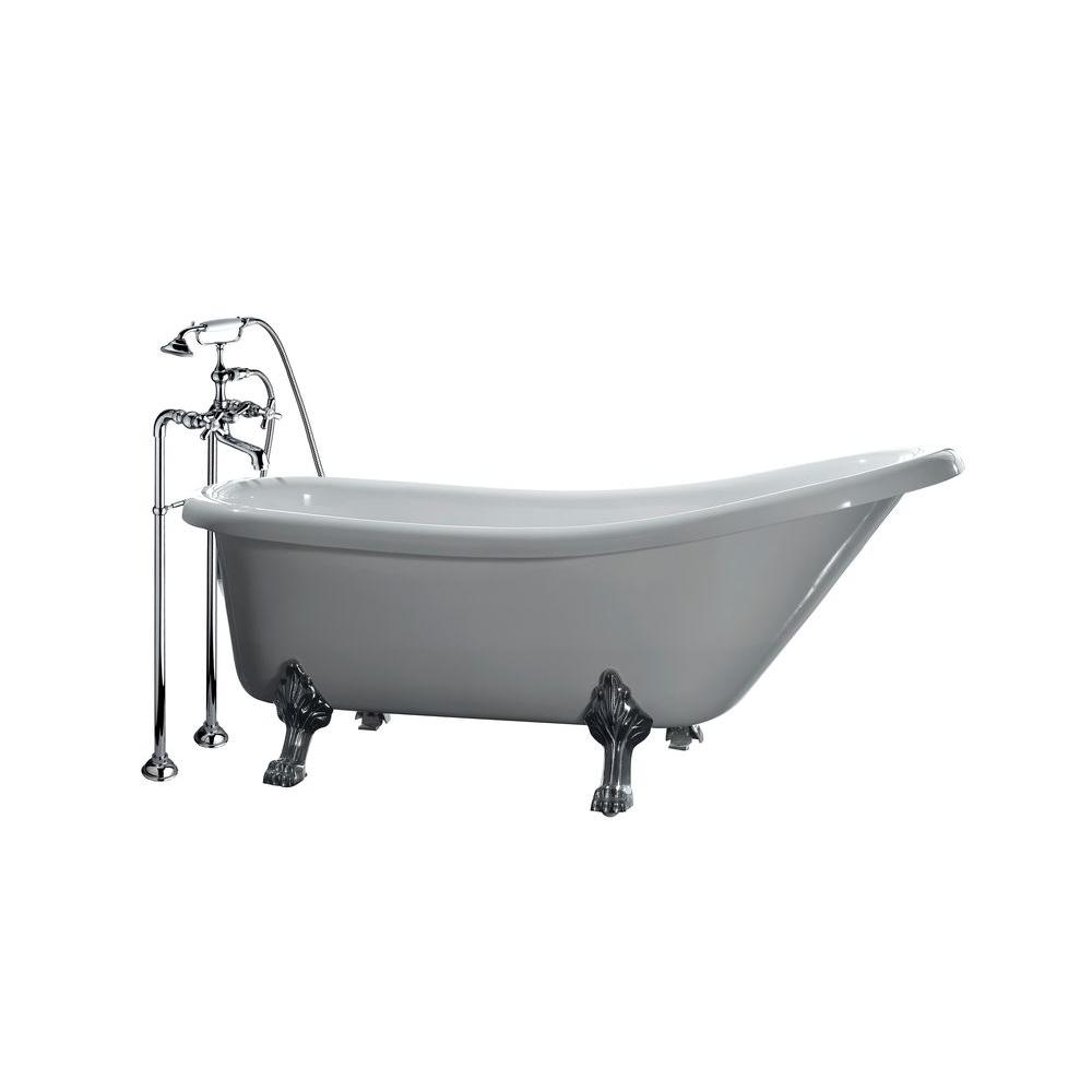 All In One 5 Ft Acrylic Chrome Clawfoot Slipper Tub White
