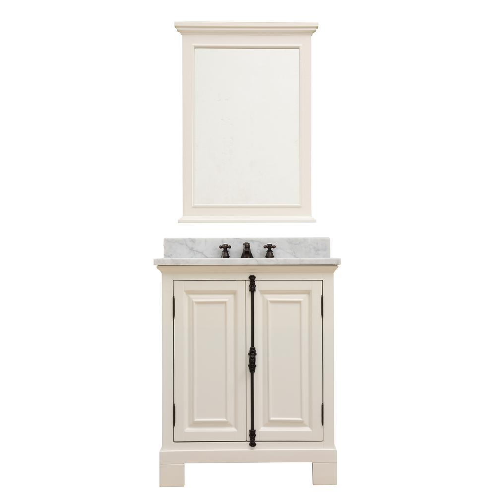 Water Creation Greenwich 30 in. W x 22 in. D Vanity in Antique White with Marble Vanity Top in White with White Basin and Mirror
