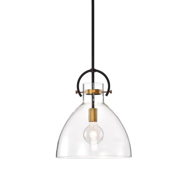 1-Light Oil Rubbed Bronze and Antique Gold Pendant with Bowl Shaped Clear Glass
