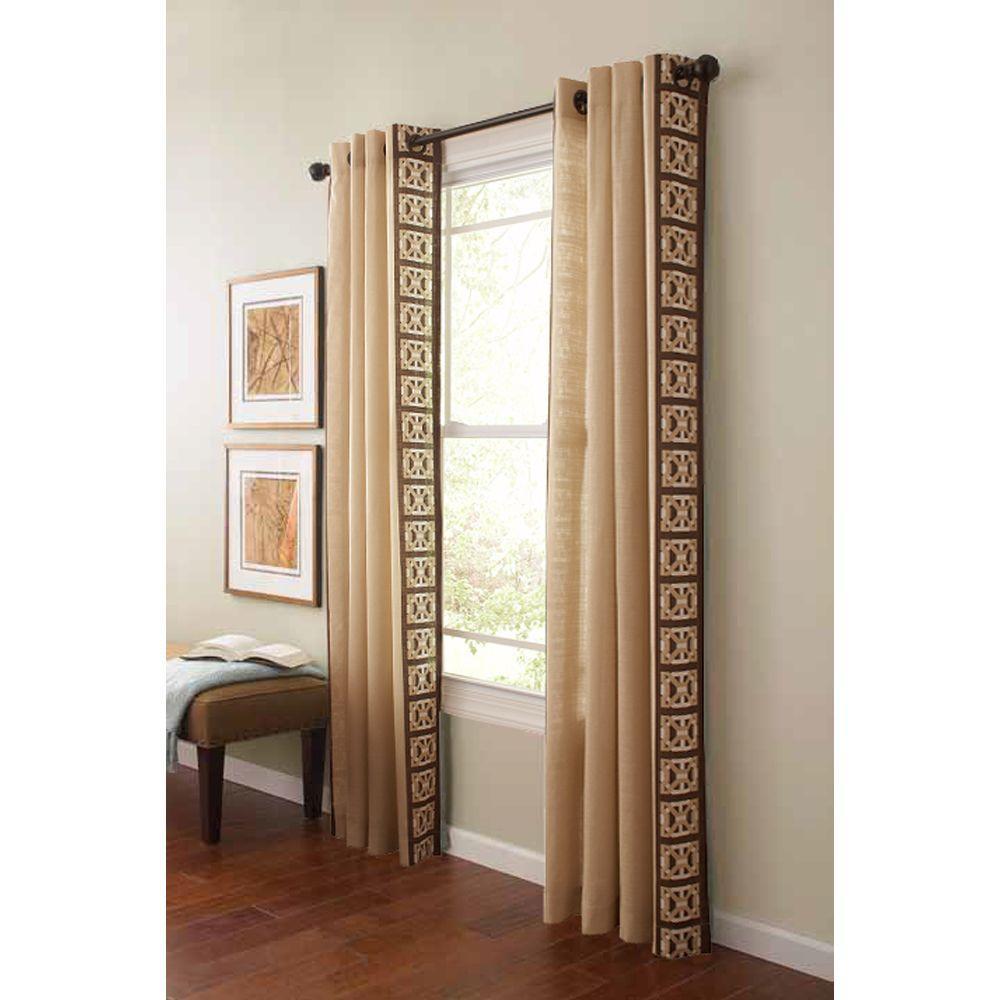 Elegant Martha Stewart Living Semi Opaque Buckwheat Flour Geo Border Grommet  Curtain 1618075   The Home Depot