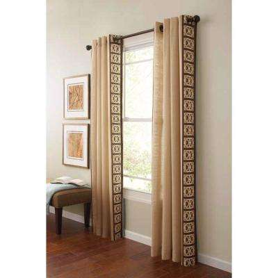 Geo Border Light Filtering Window Panel in Buckwheat Flour - 50 in. W x 84 in. L