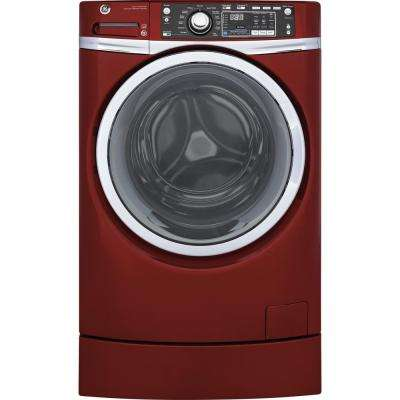 4.9 cu. ft. Front Load Washer with Steam in Ruby Red, ENERGY STAR, Built-In Pedestal Included