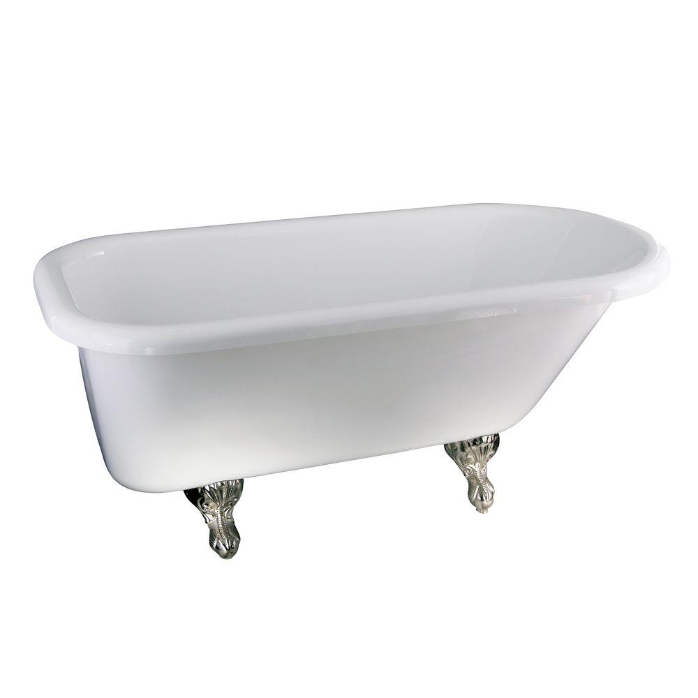 null 5 ft. Acrylic Ball and Claw Feet Roll Top Tub in White
