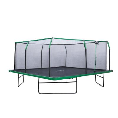 16 ft. x 16 ft. Square Trampoline Set with Premium Top-Ring Enclosure and Safety Pad - Black/Green