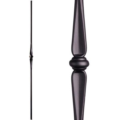 Round 44 in. x 0.5625 in. Satin Black Single Knuckle Solid Wrought Iron Baluster