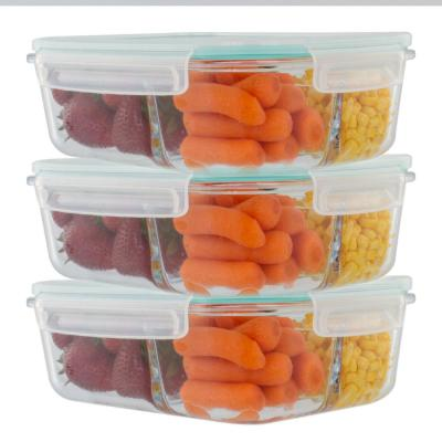 51 oz. 3-Piece Glass 3 Divider Meal Prep Containers