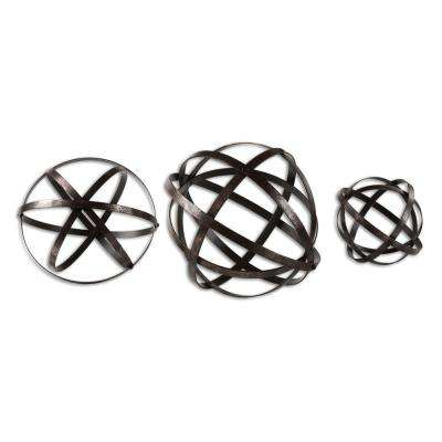 11.8 in. Aged Bronze Decorative Spheres (Set of 3)
