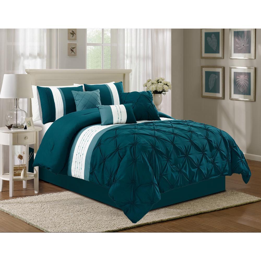 Olivia 7-Piece Teal Queen Comforter Set