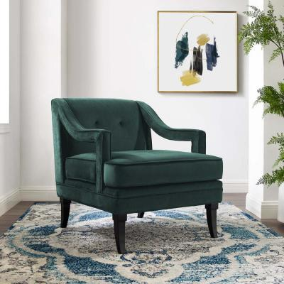 Concur Green Button Tufted Upholstered Velvet Armchair