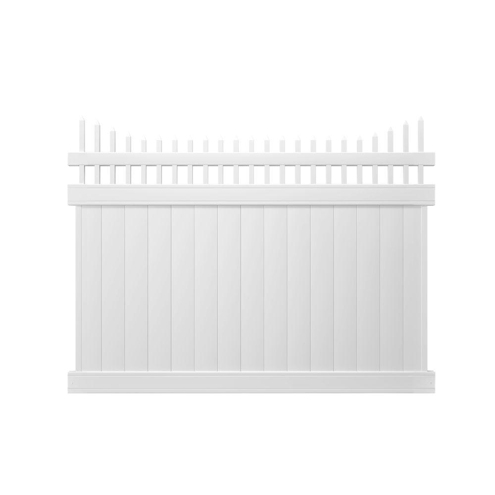 Veranda Pro Series 6 ft. H x 8 ft. W White Vinyl Woodbridge Privacy Cut Scalloped Picket Top Fence Panel - Unassembled