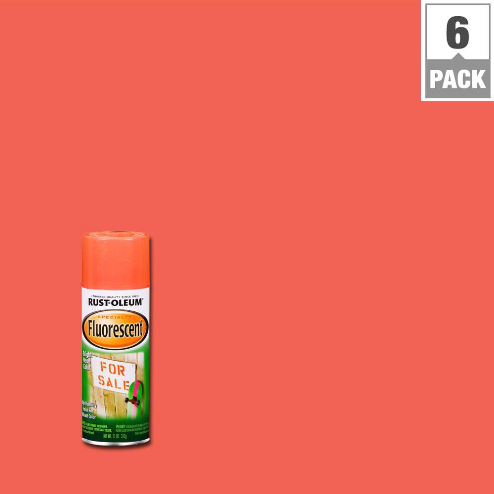 Rust Oleum Specialty 11 Oz Fluorescent Red Orange Spray Paint 6 Pack
