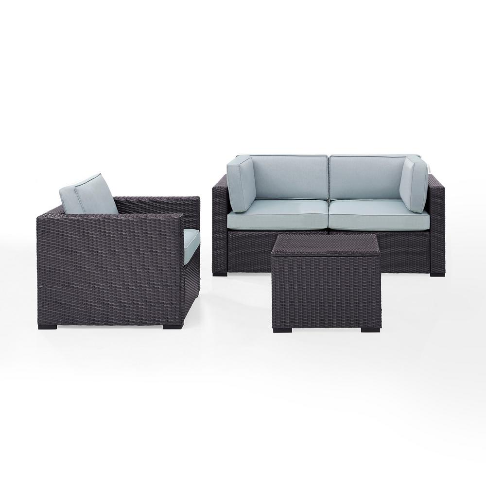 Pleasing Crosley Biscayne 3 Person Wicker Outdoor Seating Set With Mist Cushions 2 Corner Chairs 1 Arm Chair 1 Coffee Table Andrewgaddart Wooden Chair Designs For Living Room Andrewgaddartcom