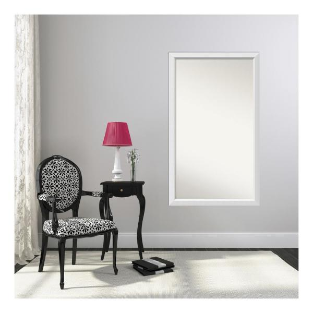 32 in. x 54 in. Blanco White Wood Framed Mirror