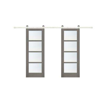 60 in. x 84 in. 4-Lite Clear Coat Driftwood Mistlite Interior Barn Door with Stainless Steel Sliding Hardware Kit