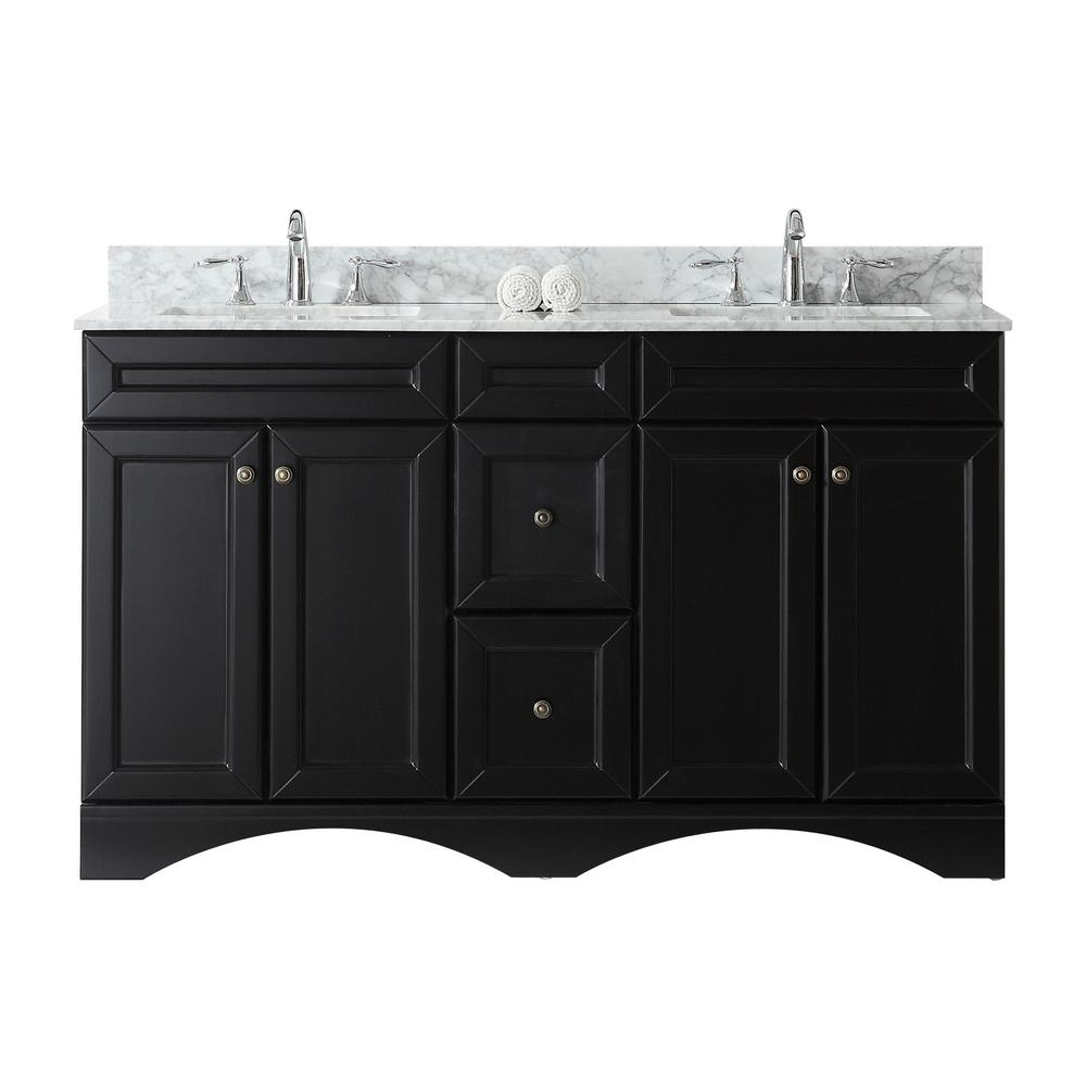 Virtu USA Talisa 60 in. W Bath Vanity in Espresso with Marble Vanity Top in White with Square Basin