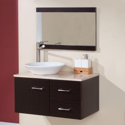 Sicily 30 in. W x 19 in. D Bathroom Vanity Combo in Ebony with Natural Stone Vanity Top in Travertine and Mirror