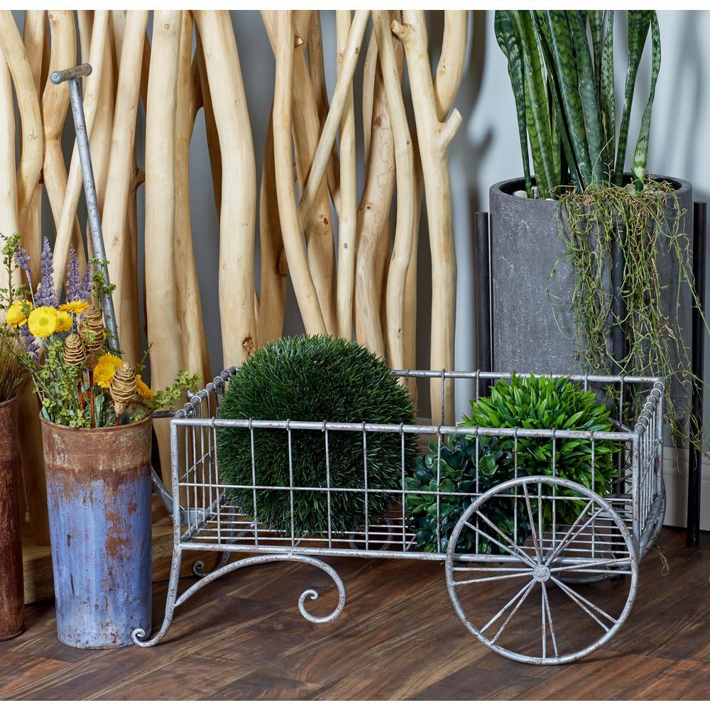 Litton Lane Gray Iron 2-Wheeled Pull Cart Planter 74869