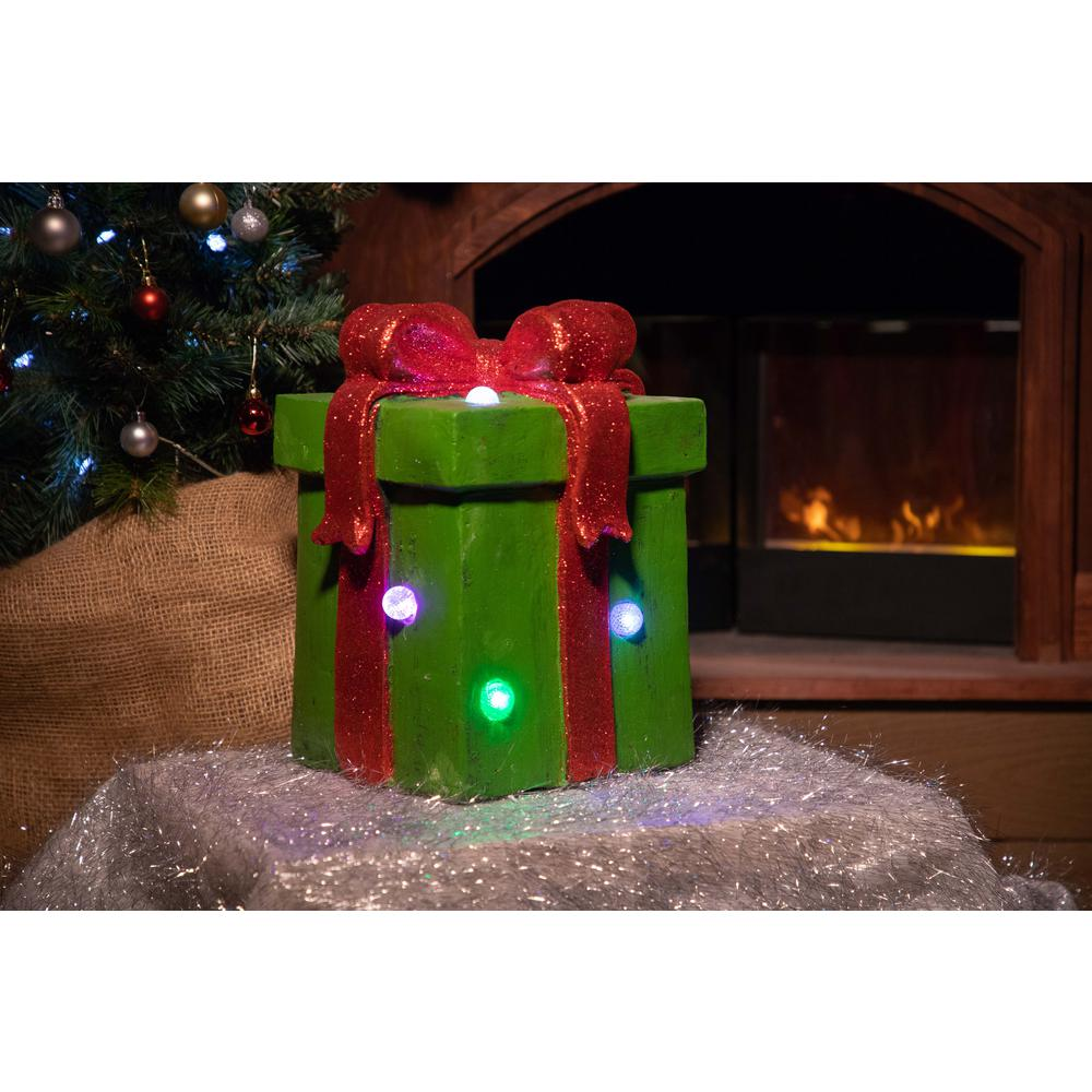Green Giftbox Statue with Color Changing LED Lights-TM
