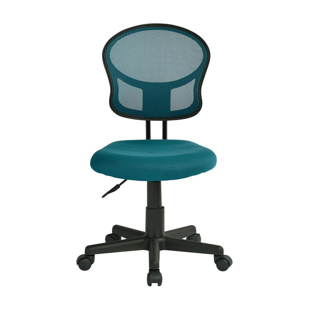 OSP Home Furnishings Mesh Blue Fabric Task Chair, Blue Mesh Polyester Finish A task chair with a functional yet playful appeal arrives in the new Mesh Back and Padded Seat Desk Chair by OSP Design. Outfitted with a pressurized seat height adjustment and available in a variety of fun colors, this seating solution makes the perfect addition to any home office that begs for a pop lively appeal. Intelligently engineered with a pressure responsive mesh back and padded mesh seat, this chair wicks away moisture while keeping your back comfortably cradled. Boasting a 360° swivel and armless design, this chair is perfect for doing homework at your computer desk or checking emails at your home workstation. Couple all of these features with the heavy-duty dual wheel carpet casters and you have a versatile task chair that is as affordable as it is comfortable. Color: Blue Mesh Polyester Finish.
