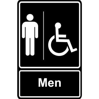 5.5 in.  x 6.5 in.  Plastic Men Wheelchair Black Restroom Sign