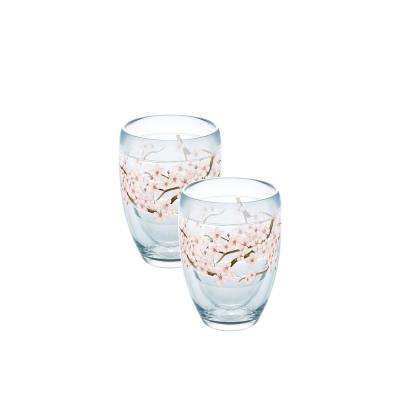 Cherry Blossom Berry 9 oz. Double-Walled Tritan Stemless Wine Glass (2-Pack)