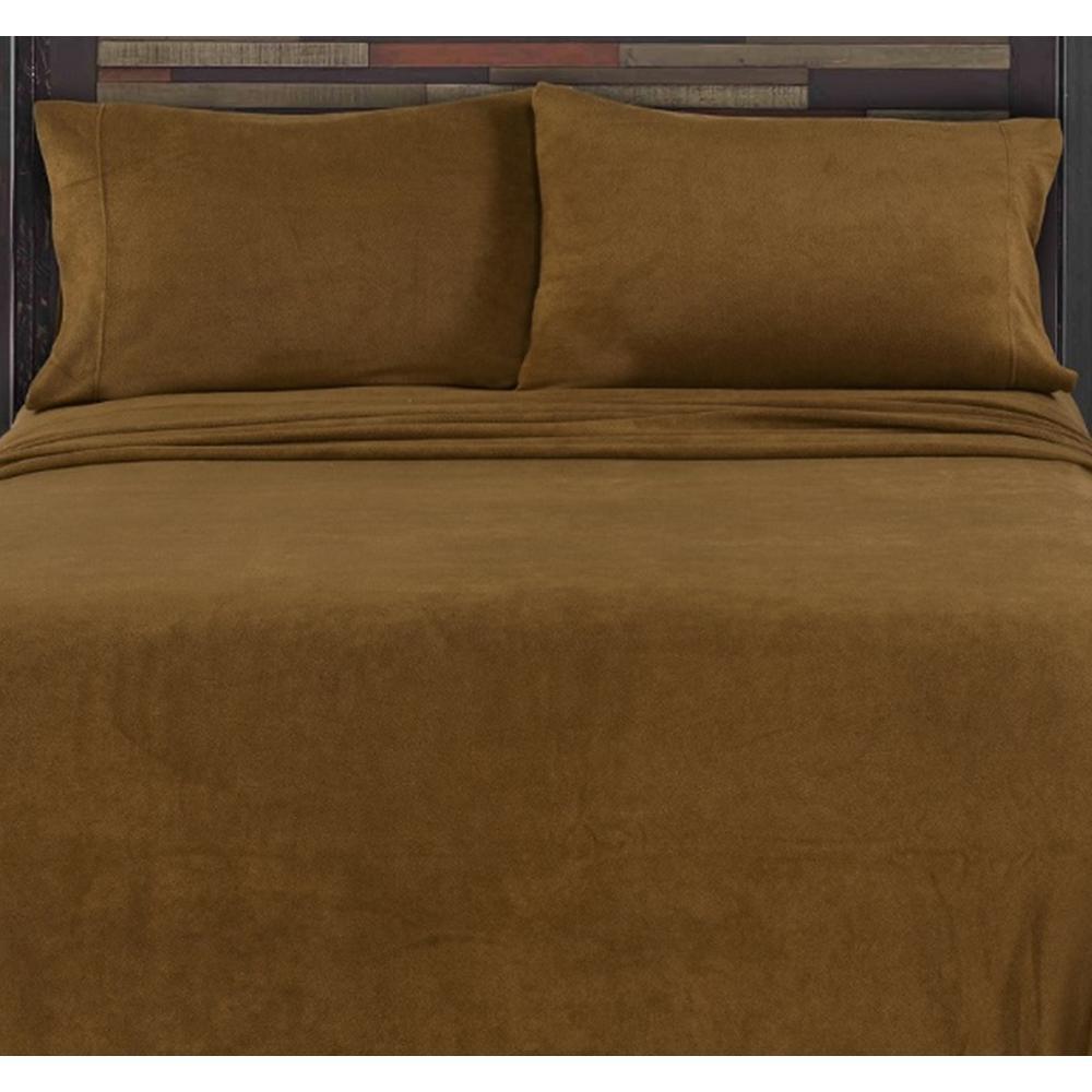 MHF Home Toffee Full 4-Piece Fleece Sheet Set