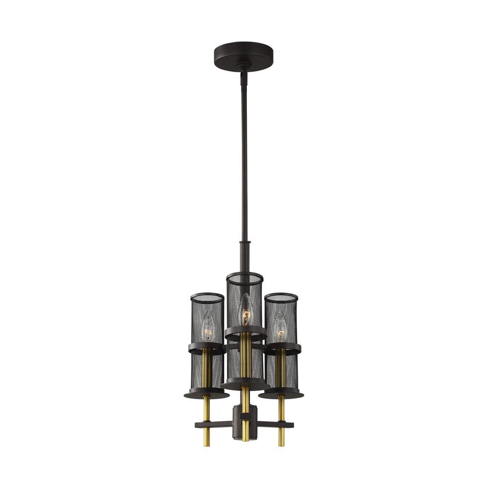 Feiss Palmyra 3-Light Oil Rubbed Bronze and Burnished Brass Chandelier with Metal Mesh Shades