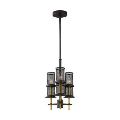 Palmyra 3-Light Oil Rubbed Bronze and Burnished Brass Chandelier with Metal Mesh Shades