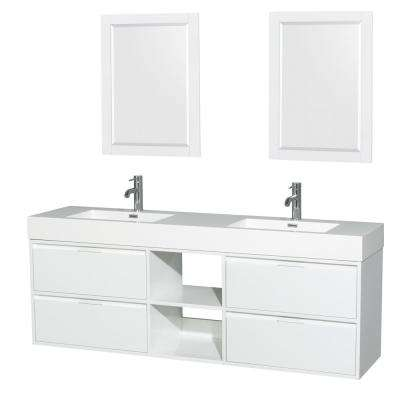 Daniella 72 in. W x 18 in. D Vanity in Glossy White with Acrylic Vanity Top in White with White Basin and 24 in. Mirrors