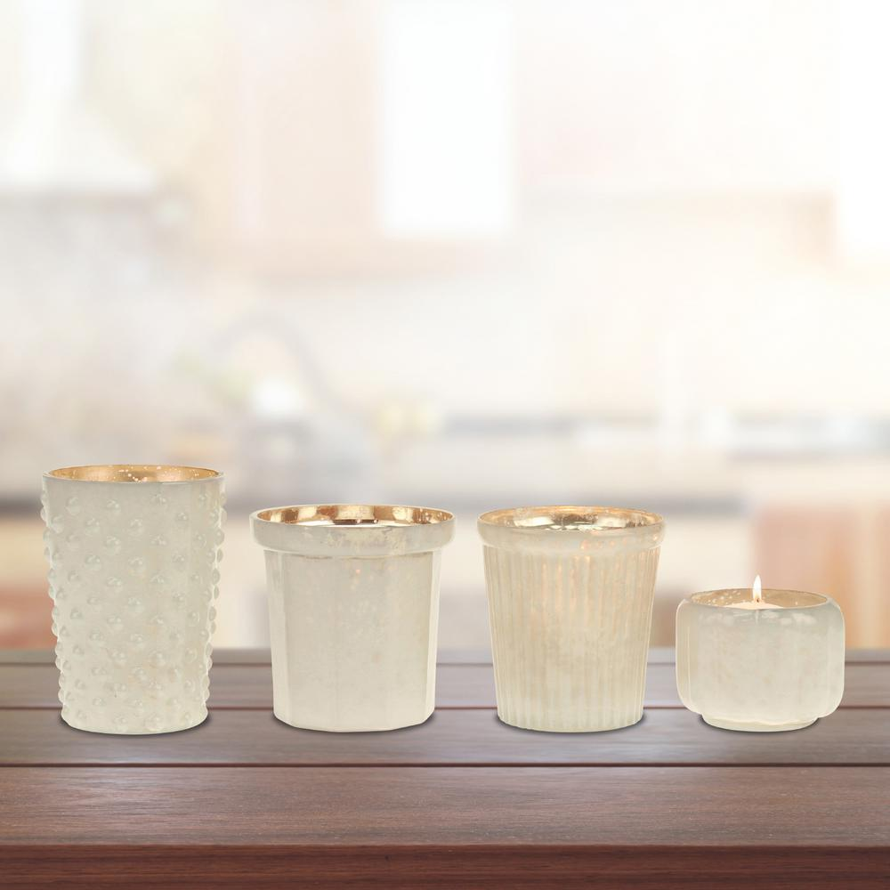 3.25 in. Milky Glass Votive Candle Holder in White Mercury