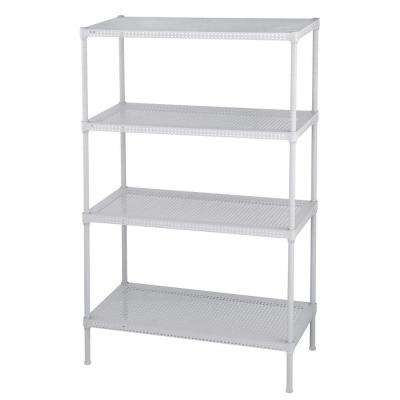 Perforated 47 in. H x 30 in. W x 14 in. D 4-Tier Steel Shelving in White