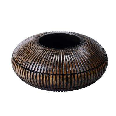 4 in. x 10 in. Black Handmade Short Flat Mango Wood Decorative Vase