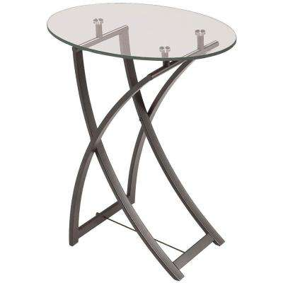 Catherine Clear Tempered Glass Oval End Table in Oil Brushed Bronze
