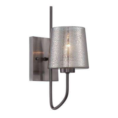 Meridian 1-Light Black Chrome Sconce with Recycled Mercury Glass