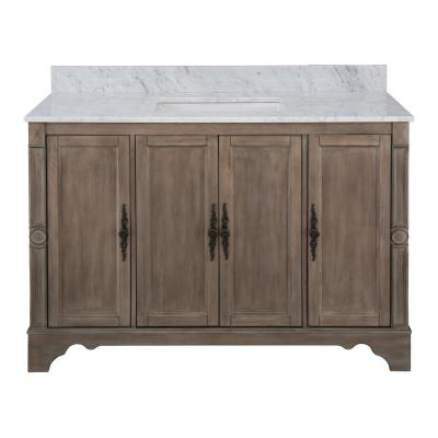Astoria Park 49 in. W x 22 in. D Vanity in Antique Ash with Marble Vanity Top in Carrara with White Sink
