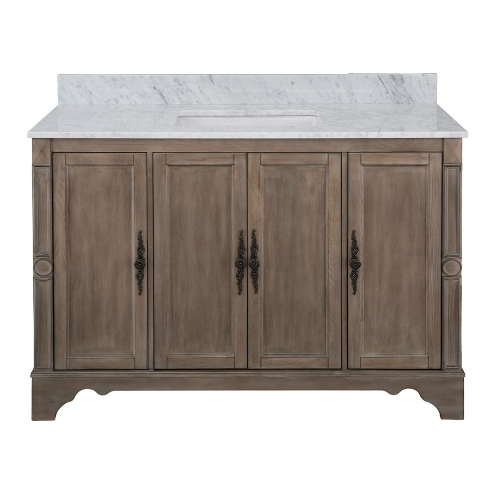 Home Decorators Collection Astoria Park 49 in. W x 22 in. D Vanity in Antique Ash with Marble Vanity Top in Carrara with White Sink