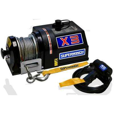 X3F Series 4,000 lb. 24-Volt DC Freewheeling Utility Winch with Hawse Fairlead and On-The-Motor Switch