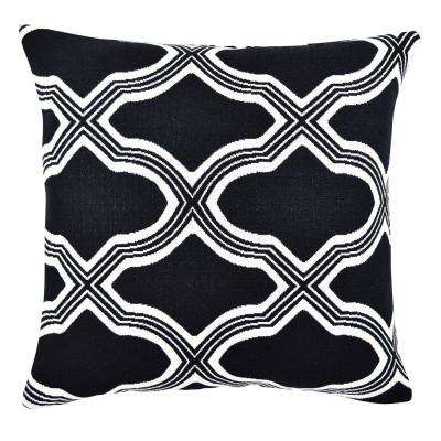 Black Quatrefoil Woven Jacquard Throw Pillow