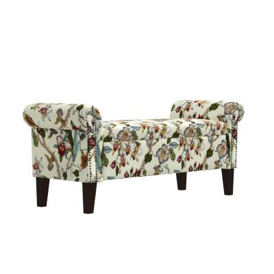 Rolled in Cream Multi Floral with Birds Printed Fabric Arm Bench Storage Ottoman 24.5 in. H x 56.5 in. W x 20.5 in. D