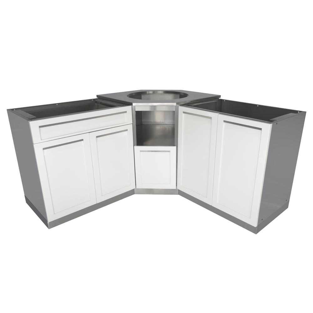 4 Life Outdoor Steel Outdoor Corner Cabinet Set White Piece